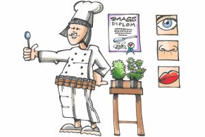 kok med krydderibælte og plakater med sanserne