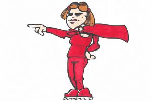 en kvindelig superhelt i rød dragt med slag