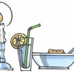 En skål med grød, et glas vand og et stearinlys i stage