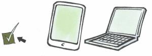 En iPad og en pc med et grønt tjekmærke