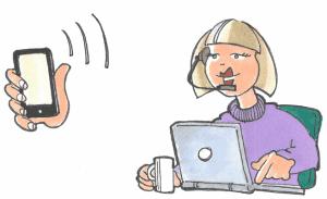 En telefon der ringer til en dame i kundeservice
