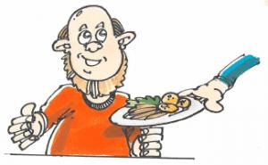 Mand der får serveret en tallerken mad