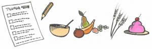indkøbsliste, frugt og kage