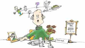 forvirret mand ved spisebord