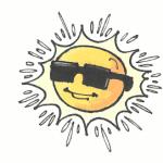 En sol med solbriller på