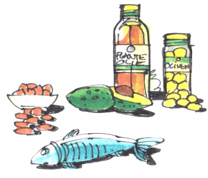 Kilder til umættet fedt er fisk, avocado, oliven og olier