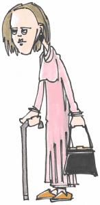 Meget tynd ældre dame med stok