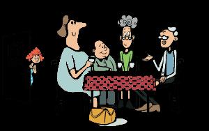 Flere ældre rundt om et spisebord