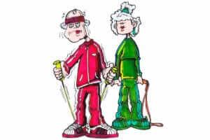 To ældre mennesker i træningstøj